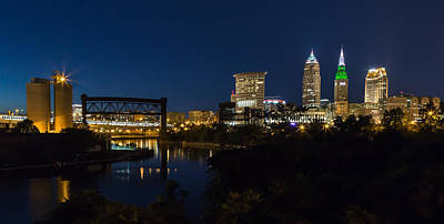 Cleveland Nightscpae Panoramic Poster by Dale Kincaid