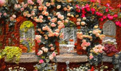 Climbing Rose Garden - Abstract Impressionist Landscape Poster by Katrina Britt