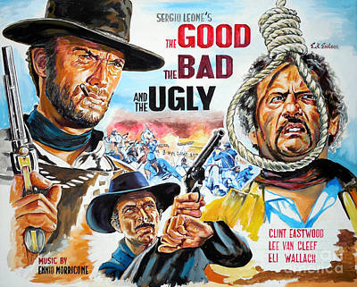Clint Eastwood The Good The Bad And The Ugly Poster by Spiros Soutsos