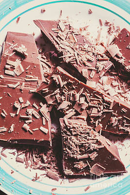 Closeup Of Chocolate Pieces And Shavings On Plate Poster by Jorgo Photography - Wall Art Gallery