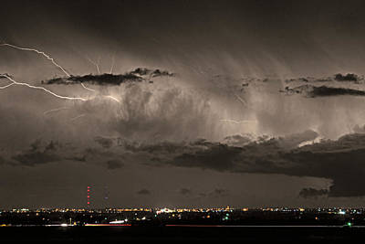 Cloud To Cloud Lightning Boulder County Colorado Sepia Color Mix Poster by James BO  Insogna
