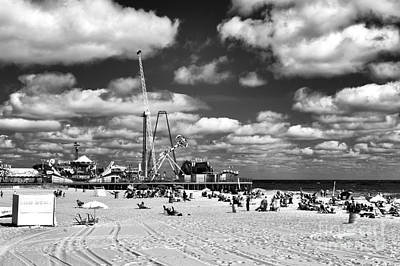 Clouds Over Seaside Heights Mono Poster by John Rizzuto