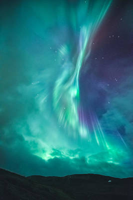 Clouds Vs Aurorae Poster by Tor-Ivar Naess
