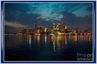 Cn  Tower And Toronto Down Town Water Front Beauty At Night Full Blast Photo Poster by Navin Joshi