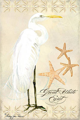 Coastal Waterways - Great White Egret Poster by Audrey Jeanne Roberts
