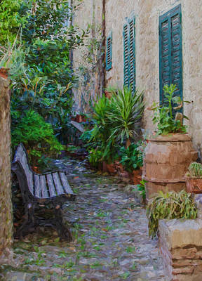 Cobblestone Courtyard Of Tuscany Poster by David Letts
