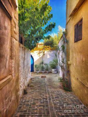 Cobblestone Road In Crete Poster by HD Connelly