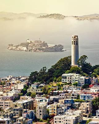 Coit Tower And Alcatraz Poster by Sasha Zvereva
