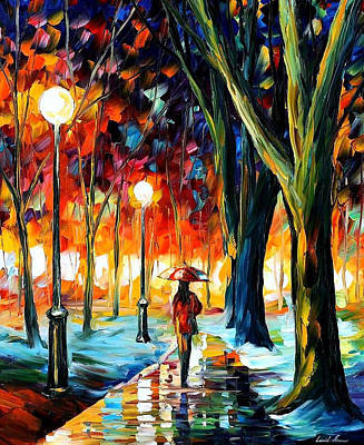 Cold Winter - Palette Knife Oil Painting On Canvas By Leonid Afremov Poster by Leonid Afremov