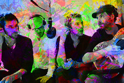 Coldplay Band Portrait Paint Splatters Pop Art Poster by Design Turnpike