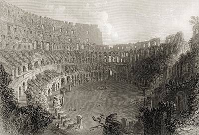 Colisseum Rome Italy. Engraved By E Poster by Vintage Design Pics