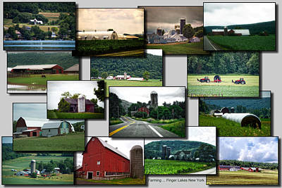 Collage Farming Finger Lakes New York Poster by Thomas Woolworth