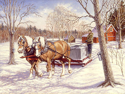 Sleigh Poster featuring the painting Collecting The Sap by Richard De Wolfe
