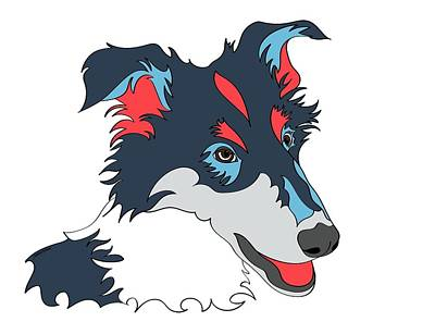 Collie Graphic Art - Dog Art - Wpap Poster by Shara Lee