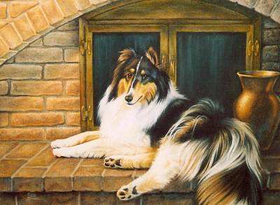 Collie On The Hearth Poster by Karen Coombes