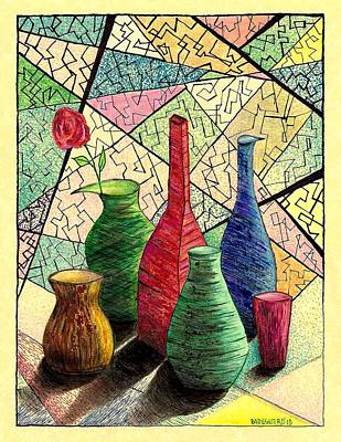 Color Drawing Of Vases With Flower Poster by Mario Perez