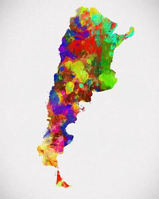 Colorful Argentina Map Poster by Dan Sproul