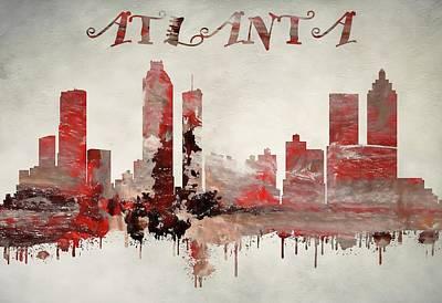Colorful Atlanta Georgia Skyline Poster by Dan Sproul