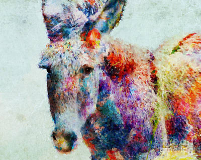 Colorful Donkey Art Poster by Olga Hamilton