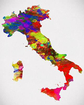 Colorful Italy Map Poster by Dan Sproul