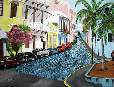 Colorful Old San Juan Poster by Luis F Rodriguez