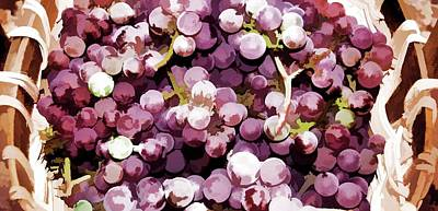 Colorful Pink Tasty Grapes In The Basket Poster by Lanjee Chee