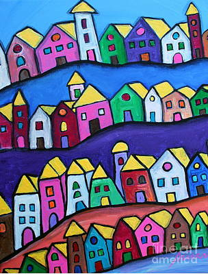Colorful Town Poster by Pristine Cartera Turkus
