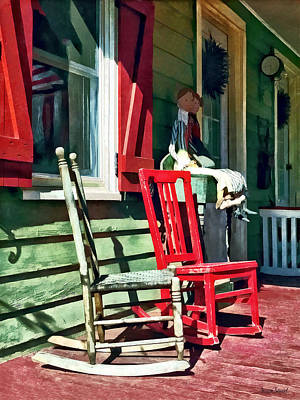 Two Rocking Chairs On Porch Poster by Susan Savad