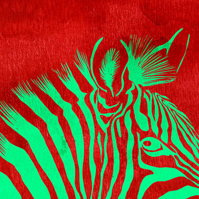 Zebra Animal Colorful Decorative Poster 5 - By Diana Van Poster by Diana Van