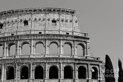 Colosseum Or Coliseum Black And White Poster by Edward Fielding