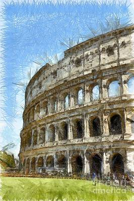 Colosseum Or Coliseum Pencil Poster by Edward Fielding
