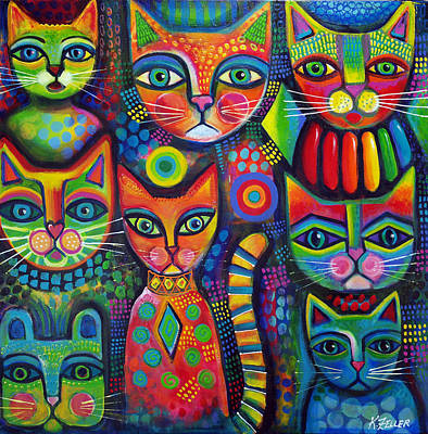Colourful Cats Poster by Karin Zeller
