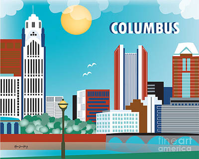 Columbus Ohio Horizontal Skyline By Loose Petals Poster by Karen Young
