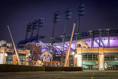 Comerica Park At Night Poster by Matthew Harper