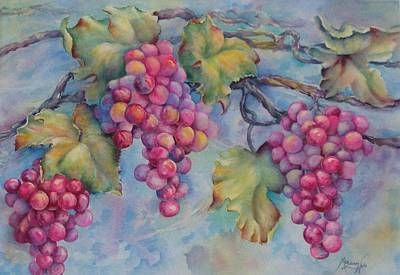 Company Of Grapes Poster by Mary Lillian White