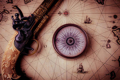 Compass And Pistole On Old Map Poster by Garry Gay