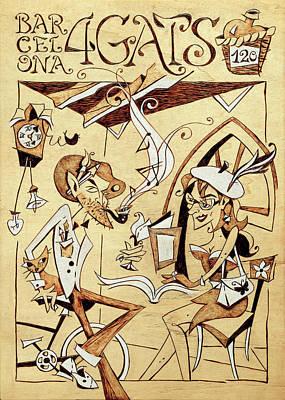 Concurso Cartel Restaurante 4 Gats Barcelona Poster by Arte Venezia