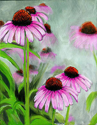 Coneflowers In The Mist Poster by Debbie Brown
