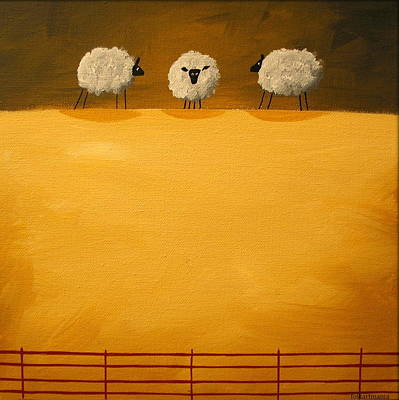 Contemplating - Folk Art Poster by Debbie Criswell