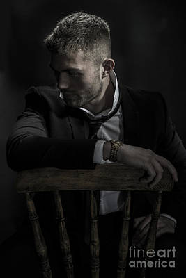 Contemplative Male Model Poster by Amanda Elwell