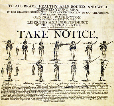 Continental Army Recruitment Broadside Poster by Everett