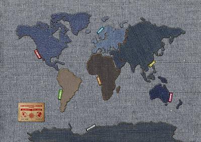 Continental Denim World Map Poster by Michael Tompsett