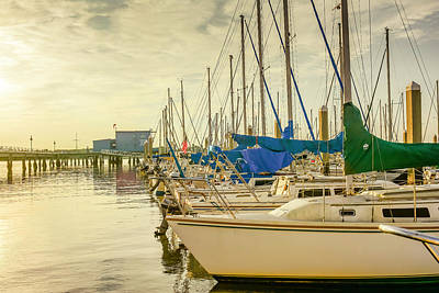 Cooper River Marina Sunrise Poster by Wendy Mogul