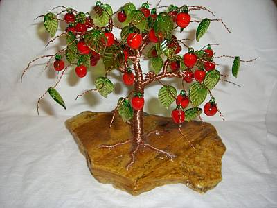 Copper Wire Tree With Red Apple And Green Leaves Lampwork Poster by Serendipity Pastiche
