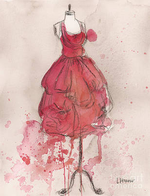 Coral Pink Party Dress Poster by Lauren Maurer