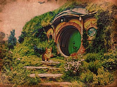 Corgi At Hobbiton Poster by Kathy Kelly