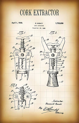 Cork Extractor Patent  1930 Poster by Daniel Hagerman