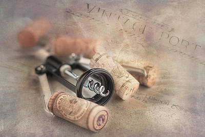Corkscrew And Wine Corks Poster by Tom Mc Nemar