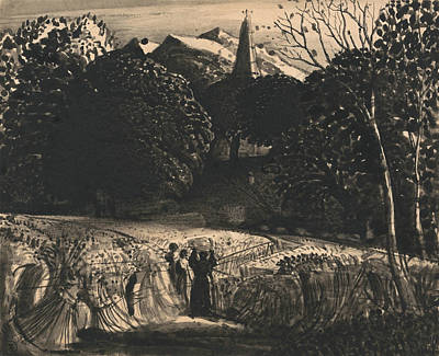 Cornfield And Church By Moonlight Poster by Samuel Palmer