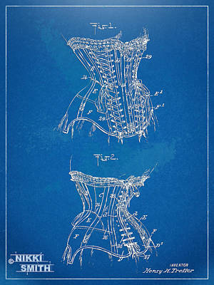 Corsets Poster featuring the digital art Corset Patent Series 1908 by Nikki Marie Smith